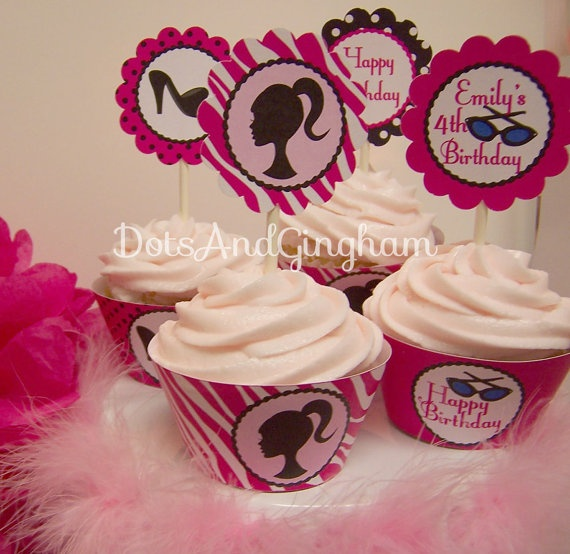 Barbie Cupcake Toppers Barbie Cupcake Circles by DotsAndGingham, $8.00