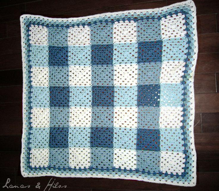 Lanas Hilos: PLAID GRANNY BLANKET - Love the denim colors - Crochet
