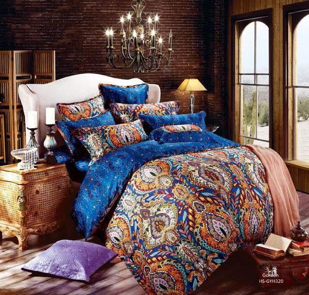 Egyptian Cotton Blue Paisley Satin Luxury Hotel Bedding