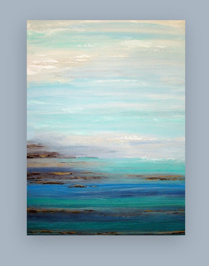This is an original one of a kind painting.    Soft shades of blue, taupe, gray, cream, and white melt down toward shades of blue, periwinkle, aqua, teal and browns with touches of dusty navy blue.    Very heavy texture to this piece. Sides will be finished and will arrive signed, sealed, and wired for easy display.    TITLE: Storm II  DIMENSIONS: 36x48x1.5  MEDIUM: Acrylics on Canvas    ROOM VIEWS MAY NOT BE TO SCALE.    Thank you for your interest in my art.    ~ Ora B.