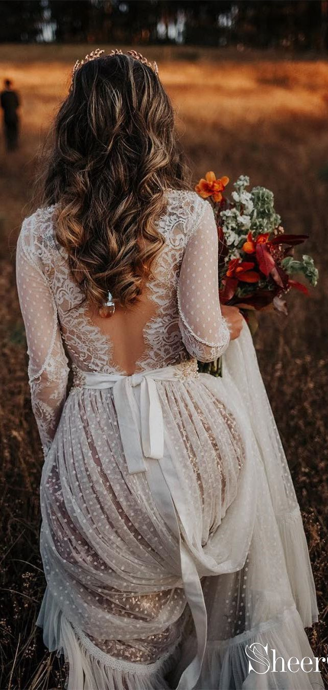 Polka Dot Boho Wedding Dress Bohemian Lace Wedding Dress with Sleeves AWD1313