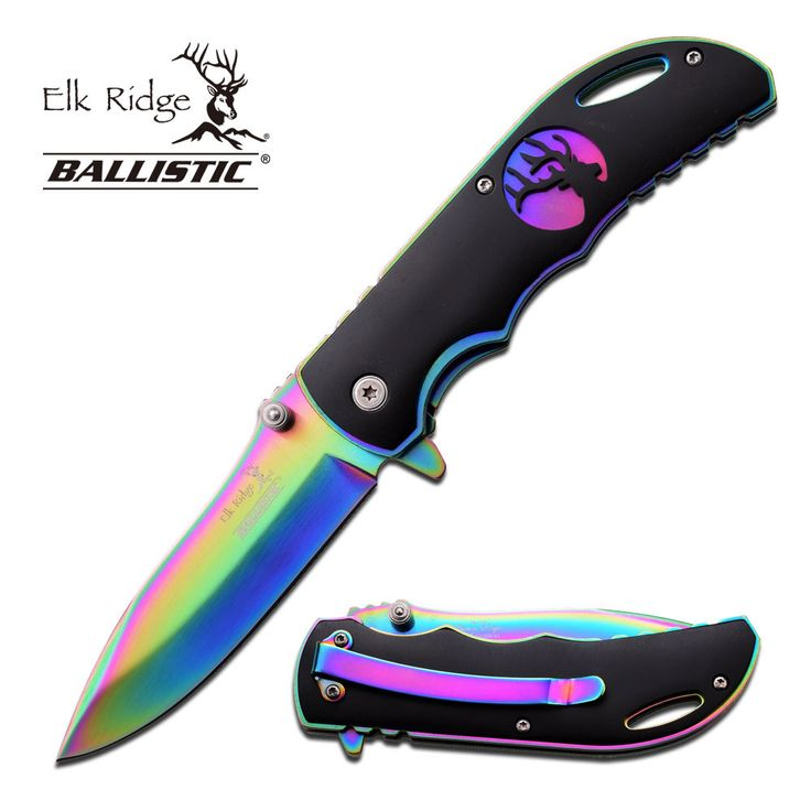 "- Field tested - Made using high quality materials - 3'' Closed - 2.5"" Rainbow 440 Stainless Steel Blade - Rainbow Frame with Black Overlay with Elk Cutout - Includes Pocket Clip and Lanyard Hole"