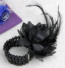 Unusual Wrists Corsage for Prom | Black Wedding Prom Faux Pearl Beads Feather Corsage Wrist Flower ...