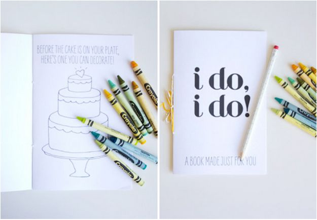Give kids this wedding-themed activity booklet.   27 Impossibly Fun Ways To Entertain Kids At Your Wedding