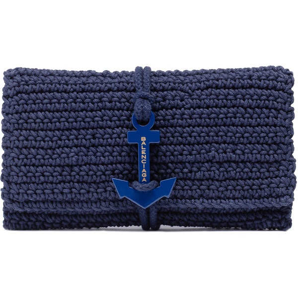 Balenciaga Crochet Anchor Clutch Marine (720 AUD) found on Polyvore