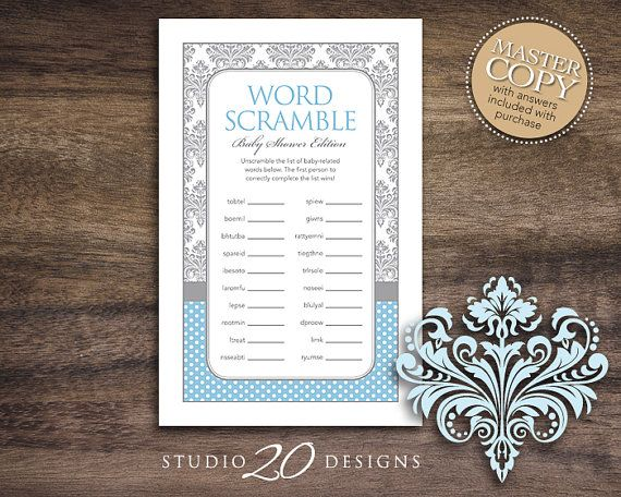 Instant Download Blue Damask Baby Shower Word Scramble Game for Boy, Grey Blue Word Scramble, Damask Baby Shower Word Puzzle 51B by Studio20Designs, $1.50