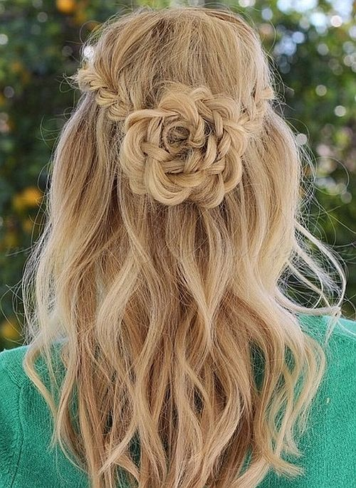 braided hairstyles plaits, braided hair, flower shaped braid | wavy blonde hair with half up hairdo