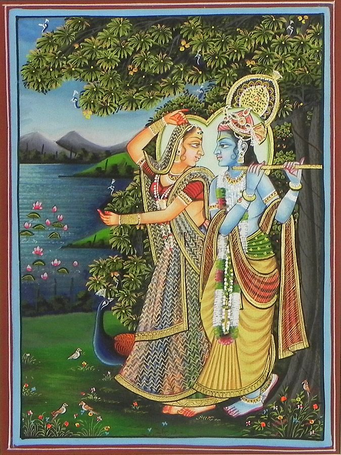 Radha Krishna Under a Veil (Miniature Painting on Silk Cloth - Unframed)