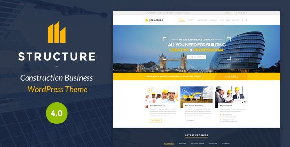 Construction WordPress Theme | Structure is the responsive Wordpress theme for building service company such as construction, engineering, architecture