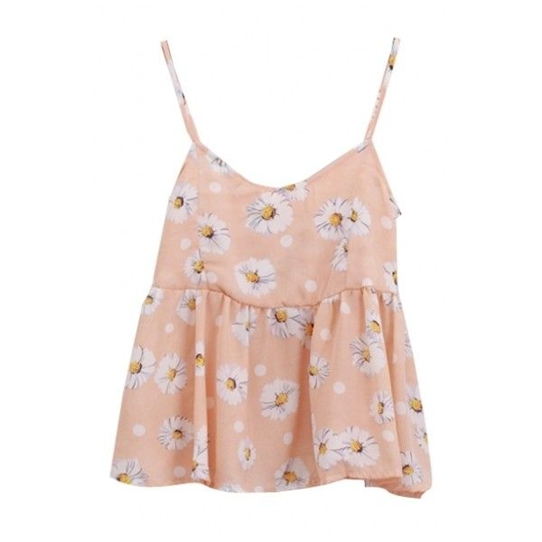 Sweet Flora Print Chiffon Ruffle Hem Camis ($9.41) ❤ liked on Polyvore featuring tops, beautifulhalo, bhalo, bh, camisole tank, chiffon camisole, cami top, pink chiffon top and chiffon cami