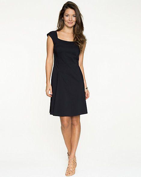 Stretch Poplin Cap Sleeve Dress