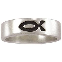 Sterling Silver Men's Christian Ring | Single Ichthys Fish