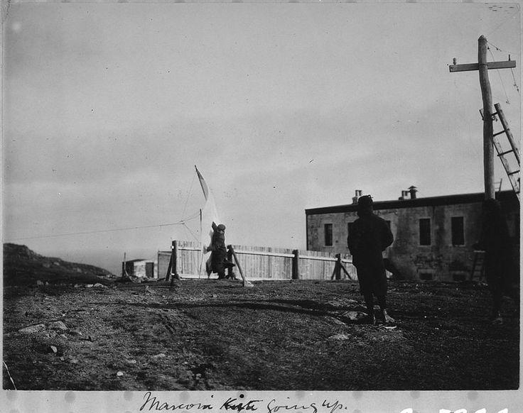 Marconi kite going up, Signal Hill, St. John's / Le cerf volant de Marconi s'envole sur la colline de Signal Hill, à St. John's   by BiblioArchives / LibraryArchives