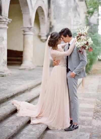 Gorgeous blush gown and veil: http://www.stylemepretty.com/2015/06/18/elegant-mexico-wedding-inspiration/ | Photography: Jose Villa - http://josevilla.com/