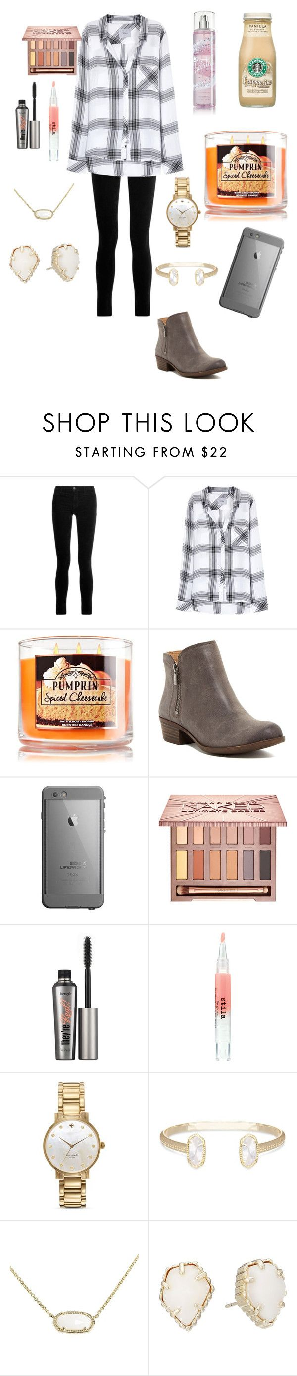 """Go follow @lilly1345"" by mae343 on Polyvore featuring J Brand, Rails, Lucky Brand, Urban Decay, Benefit, Stila, Kate Spade and Kendra Scott"