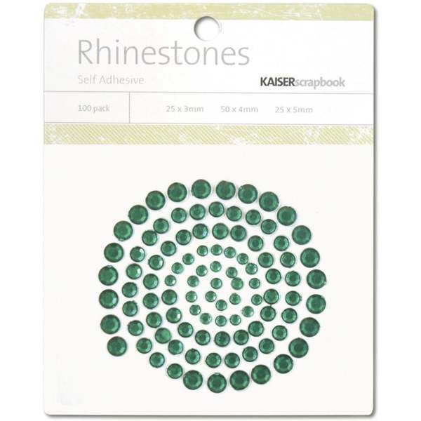 Kaisercraft Self Adhesive Rhinestones  100 Package 3 Sizes DARK GREEN No. SB708