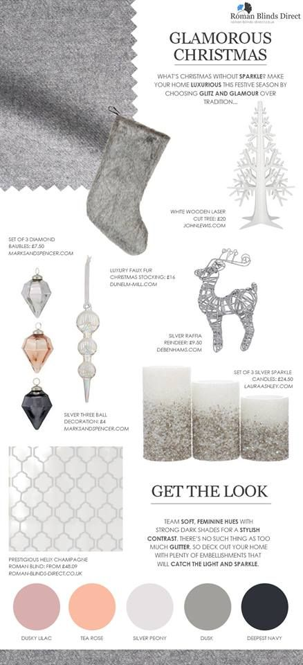 How to decorate your home for a glamorous Christmas with plenty of faux fur and glitter – a mood board by Roman Blinds Direct. Glamorous Christmas decorations are the perfect match for the Prestigious Helix Roman Blind http://www.roman-blinds-direct.co.uk/stores/product/prestigious_helix_champagne_roman_blind #interior design #christmas #decorations #silver #white #grey #glitter #sparkle #faux fur