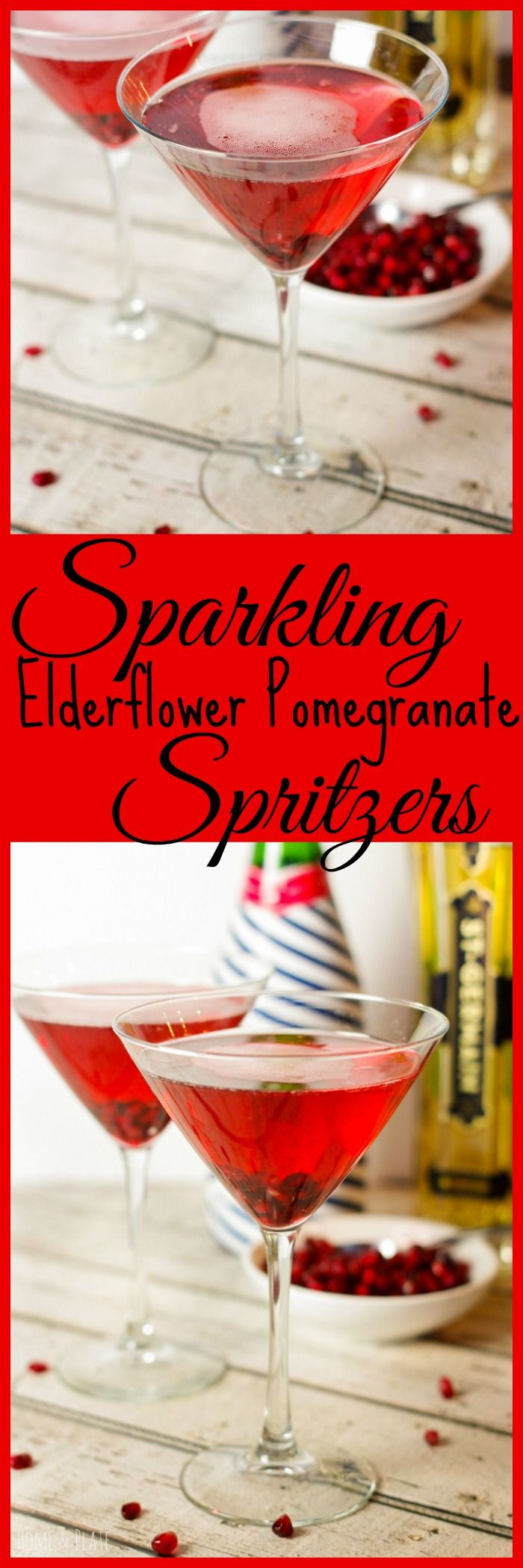 Sparkling Elderflower Pomegranate Spritzers   www.homeandplate.com   This cocktail is sweet and tart and is the perfect option for any festive gathering including Christmas Day and your New Year's eve party.