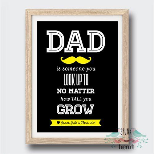 Dad Print Customisable  #dad #father #grandfather #spunkandheart #wallart