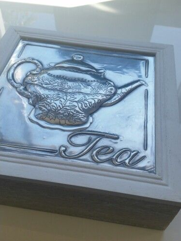 Tea box with pewter inlay by Pewter Studio