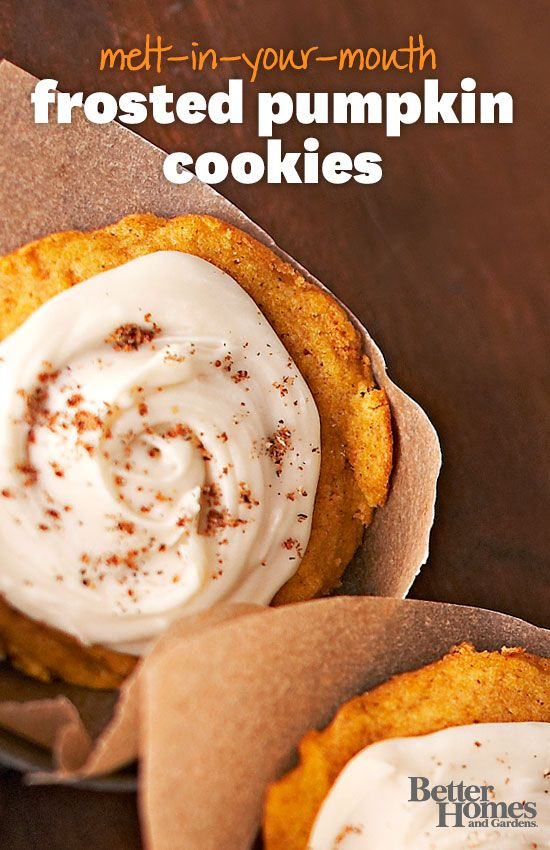 Indulge in these fall-inspired Pumpkin Cookes! http://www.bhg.com/recipe/cookies/melt-in-your-mouth-pumpkin-cookies/?socsrc=bhgpin090613pumpkincookies