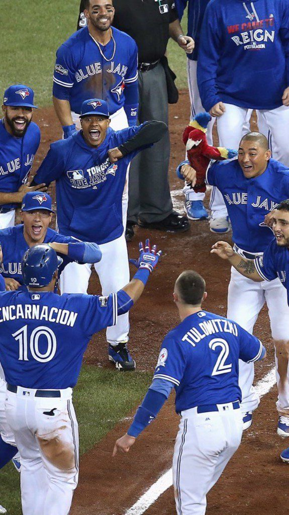 Walk the parrot!! The Jays celebrate Edwin Encarnacion hitting a walk-off home run in extra innings of the American League wild card game against the Baltimore Orioles, advancing the Toronto Blue Jays to the ALDS versus the Texas Rangers. Gotta love Ezequiel Carrera!! Lol. 2016 Postseason. MLB. Baseball. #ourmoment #edwing