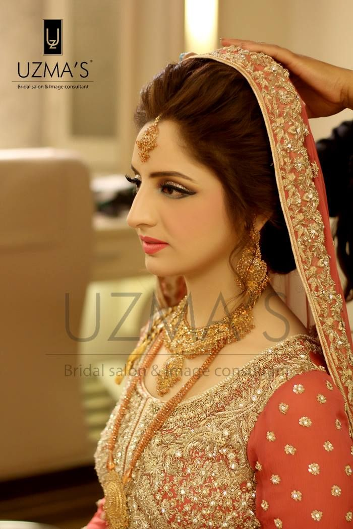very soft, fresh youthful glowy look with shimmery dull gold, rust, taupe, peach and slate eyes with a pinkish complexion Makeup by uzma's beauty salon