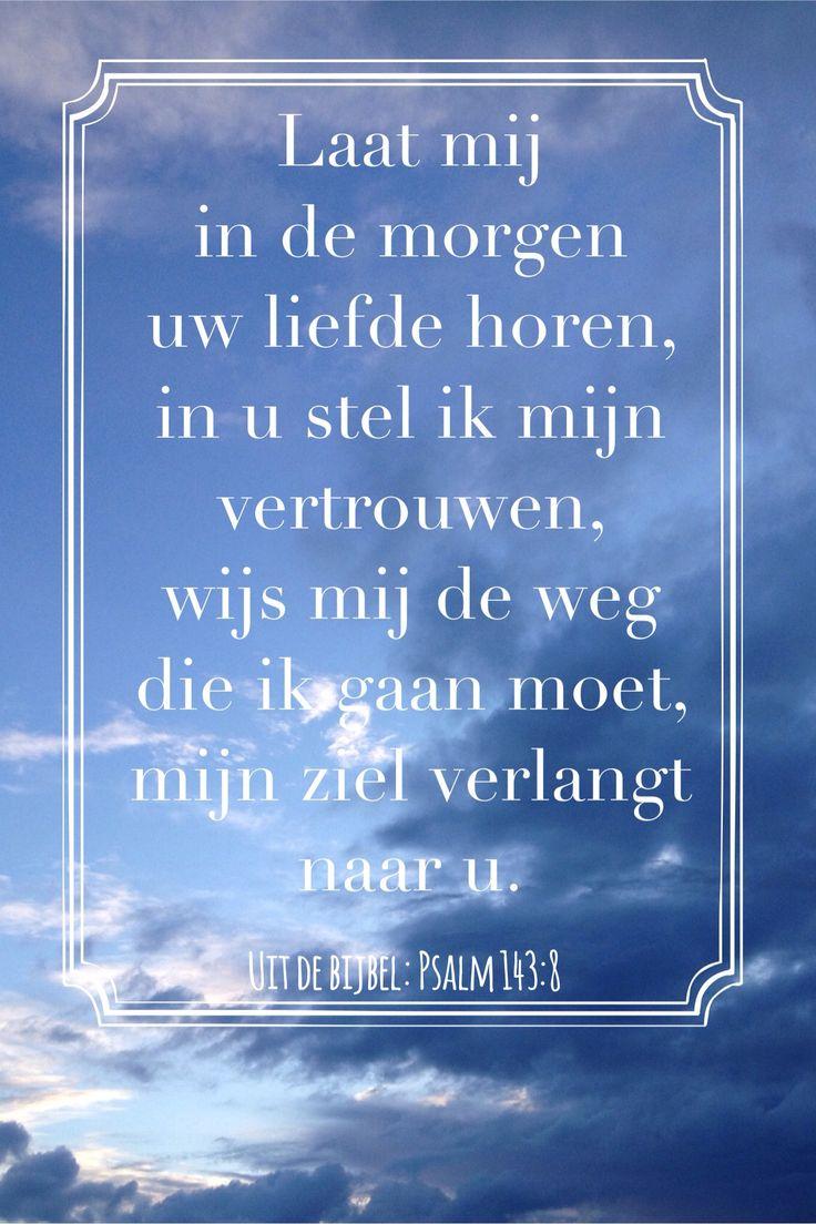 Psalm 143:8 Laat mij in de morgen uw liefde horen (geen link, gerepint)
