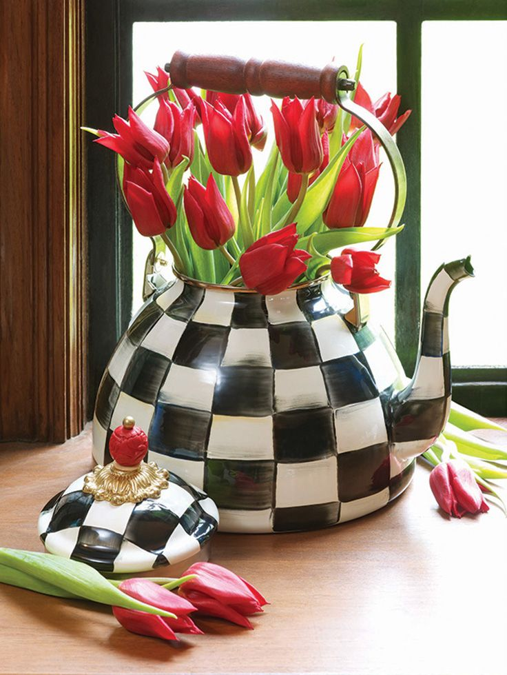 For tulips or tea! The Courtly Check Tea Kettle will make you smile every time you walk into your kitchen. It's not just beautiful--it's functional too.