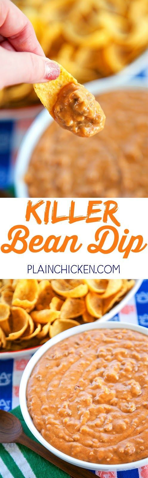 KKiller Bean Dip - only 5 ingredients! Refried beans, hamburger, taco seasoning, salsa and Velveeta. Can make on the stove or in the slow cooker. This stuff is CRAZY good! Great for tailgating!! I could make a meal out of this dip. Great Mexican dip!!