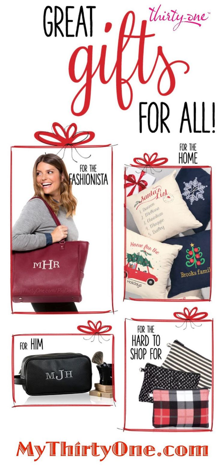 #31 Thirty-One has you covered… Great Gifts for FOR ALL your holiday needs! Who is on your Christmas list? Mom, Dad, Sister, Brother, Daughter, Son, Spouse, In-Laws, Grandparents, Cousins, Aunt, Uncle, Nephew, Niece, Friends, Colleagues, Teachers, Hair Dresser, Bus Driver, Mail Carrier and more. Check out everything at MyThirtyOne.com/PiaDavis or find your consultant in the upper right corner of the website. Order in November or by December 11th.