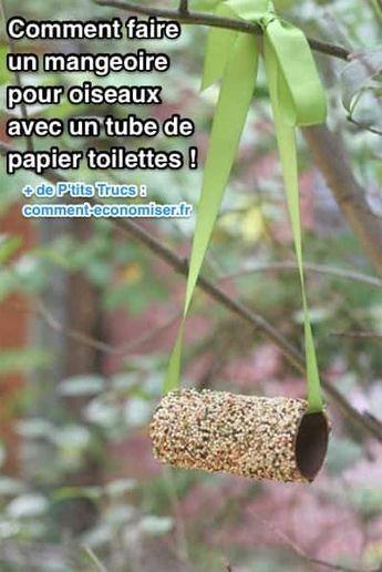 Cette petite mangeoire pour oiseaux est aussi une façon astucieuse de réutiliser un rouleau de papier toilette vide. En plus, ce truc est tellement simple que même les enfants peuvent vous aider ! Découvrez l'astuce ici : http://www.comment-economiser.fr/comment-faire-mangeoire-oiseaux-avec-rouleau-papier.html?utm_content=bufferc593d&utm_medium=social&utm_source=pinterest.com&utm_campaign=buffer