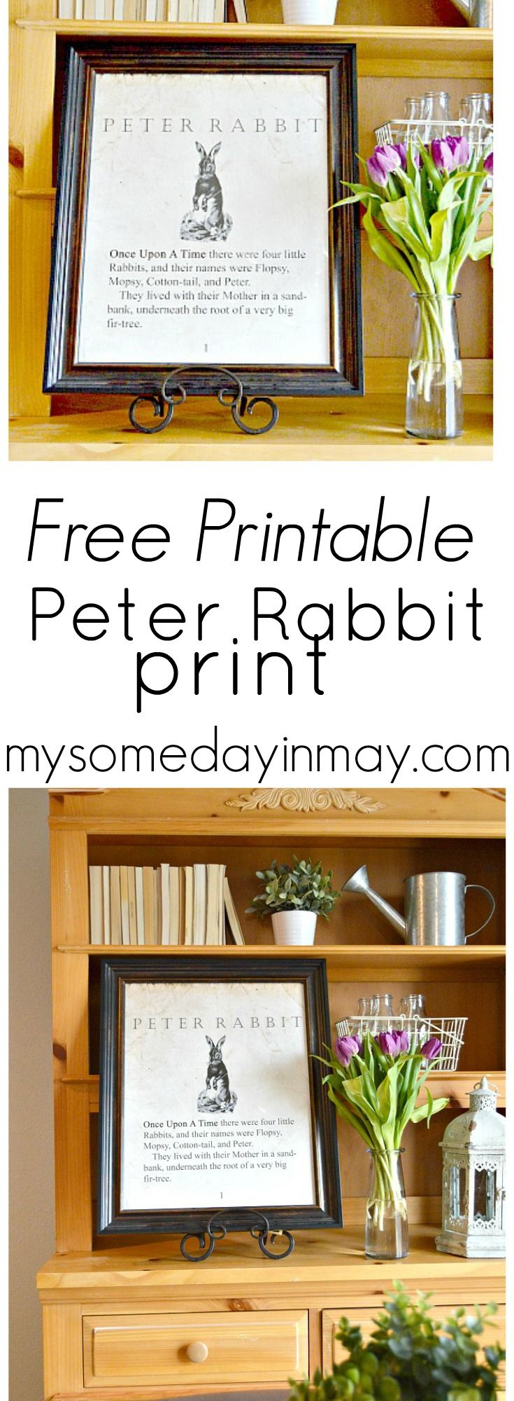 Free spring or Easter print!  a blow up print of a Peter Rabbit book page