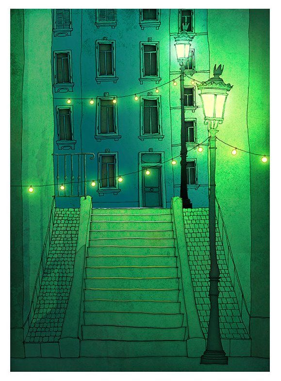 Paris. Night Walking. Illustration by Tubidu Graphics (Brigitta Racz)