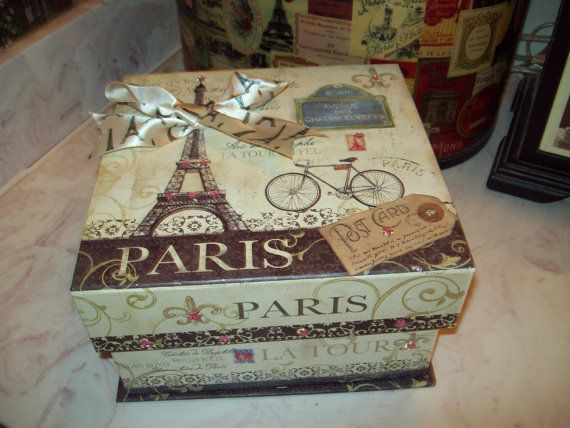 Eiffel Tower Keepsake box storage box wedding box Paris decor,French decor,shabby chic,Paris bedroom decor,French bedroom,Paris appartment on Etsy, £8.82