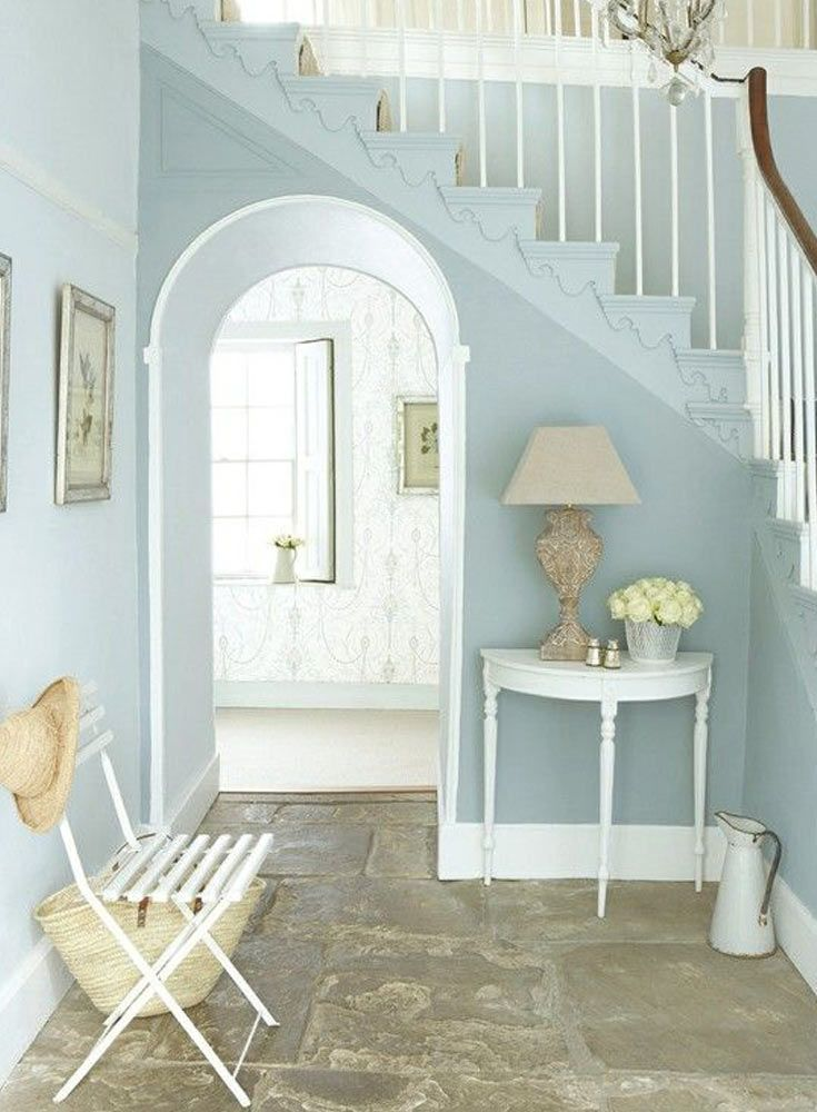 The French Bedroom Company Blog explores how to get the look: Pale blue and soft grey in you interior. Home inspiration for baby blue and grey rooms including blue outfits ideas with cashmere and wool chunky knits and coats. French painted furniture and accessories are perfect for getting the Pantone Colour of the year 2016 Serenity into your home. Blue painted french hall way entrance
