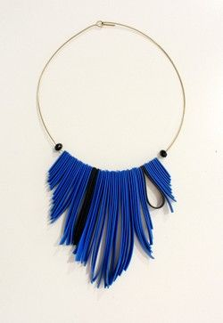 Handmade Royal Blue silicon stripe Necklace!
