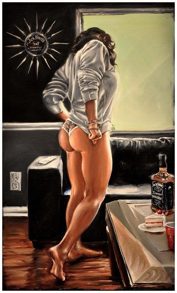 JEREMY WORST White Cake Original Artwork Signed by JeremyWorst art painting drawing print jack daniels she squats bro sexy naked fitness workout dat ass sexy pin up