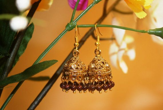 Traditional Indian style garnet jhumka/ jhumki by Vibgyour on Etsy, $10.00