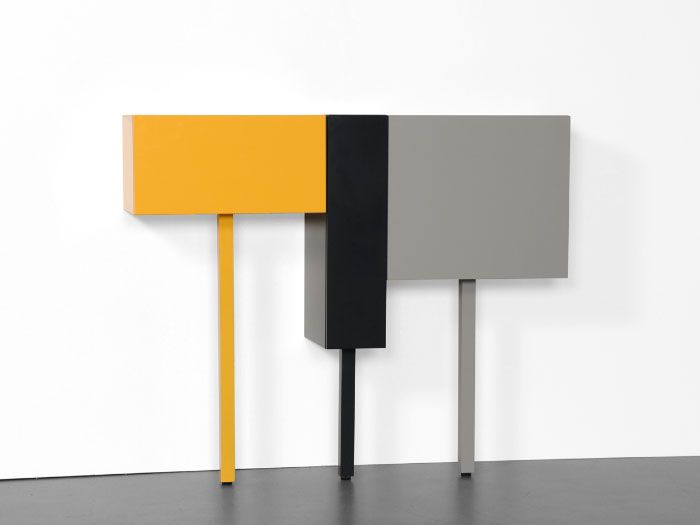 STICKS  A cabinet system with boxes in four different widths and four different heights, standing on one leg. The total height of each Stick can always be different, because of the four different lengths of the legs (the sticks). STICKS can be used as a lowboard, as a sideboard and as casual wardrobe (varying in height) or loose as a hall cabinet or bedside table.  Producer: Castelijn Design: Gerard de Hoop