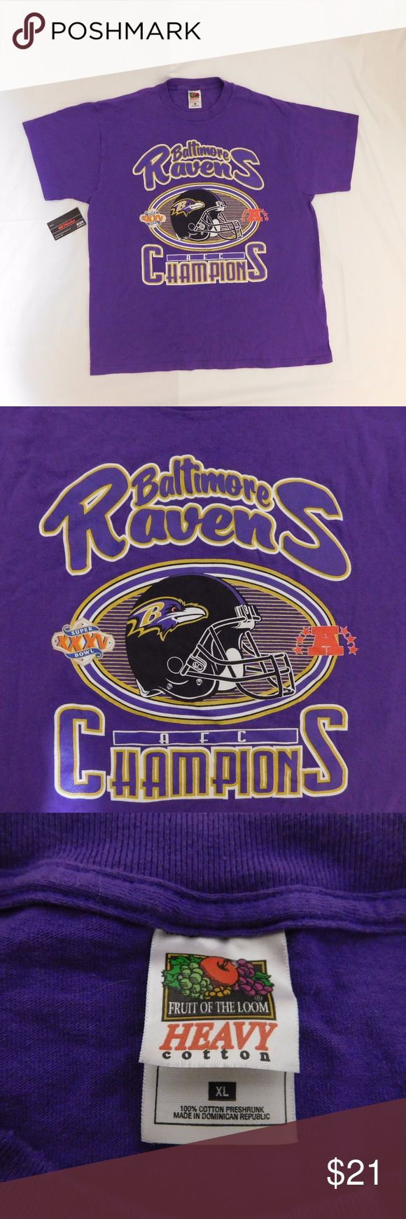 Baltimore Ravens AFC Champions T Shirt USED NFL Baltimore Ravens AFC Champions Super Bowl XXXV Purple Graphic T Shirt | MENS Size XL | Great condition, no flaws  For Discounts Follow Me on Instagram @407vintage !  KEYWORDS/TAGS: ultra boost , Tommy Hilfiger , Polo Sport , Nautica , NMD , supreme , kith , bred , adidas , banned , french blue , stussy , Maestro , vintage , kaws , solefly , trophy room , box logo , gamma blue , retro jordan , steal , foams , foamposite , rare , nike air , yeezy…