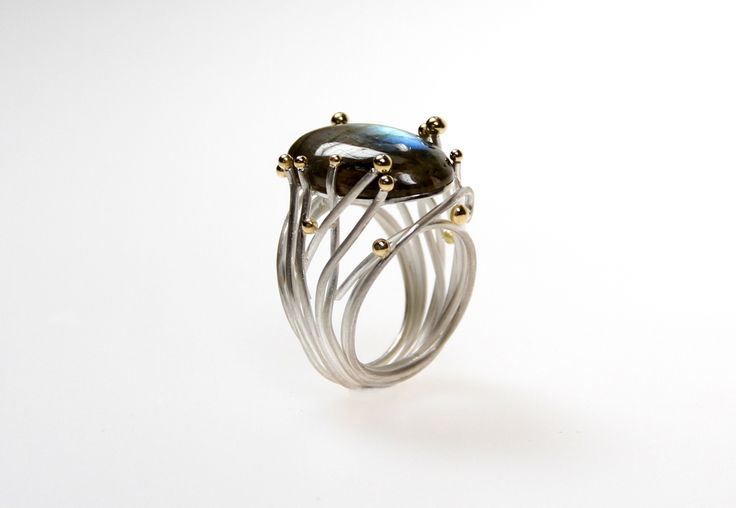 CROSSING PATHS, bague en argent sterling et or 18ct, sertie de labradorite