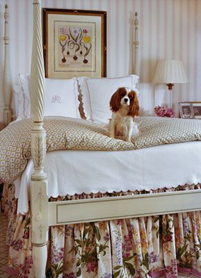 Cottage bedroom, can it please come with the Cavalier King Charles Spaniel! Adorbs!