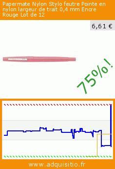 Papermate Nylon Stylo feutre Pointe en nylon largeur de trait 0,4 mm Encre Rouge Lot de 12 (Fournitures de bureau). Réduction de 75%! Prix actuel 6,61 €, l'ancien prix était de 26,89 €. http://www.adquisitio.fr/papermate/nylon-stylo-feutre-pointe-1