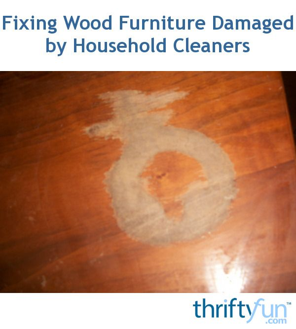This is a guide about fixing wood furniture damaged by household cleaners. Using the wrong cleaner on your wood furniture may result in damage to the finish and the wood below.