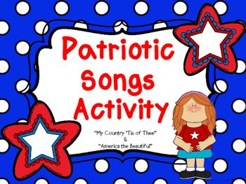 Use this activity to increase your students' knowledge of the patriotic songs listed below. Packet includes a coloring book for each song, with lyrics; copies of the songs; Vocabulary Word Cards; Vocabulary Fill in the Blank*America (My Country Tis of Thee)*America the Beautiful**Please leave feedback!**