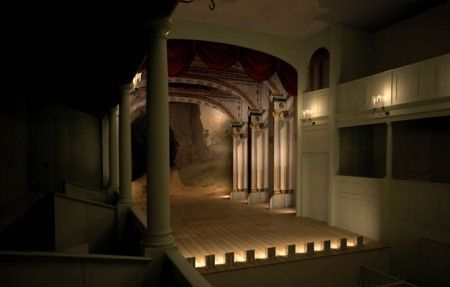 3D reconstruction of the Douglas Theater at Colonial Williamsburg. Copyright Colonial Williamsburg Foundation.