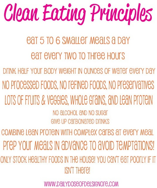 Eat Clean Principles. Try adding one principle in a week. Small changes can = HUGE success! #health #eatclean