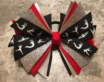 Gymnastics Hair Bow - Gymnast Hair Bow - Red Gymnastics Bow - Red Silver Gymnastics Bow - Gymnastics Ribbon - Gymnastics ponytail hair tie