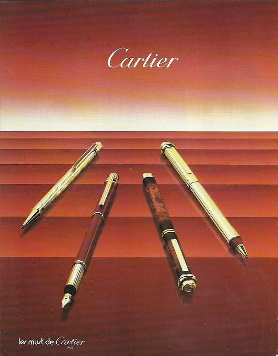Cartier Fountain Pen Pencil advertisement by OLDBOOKSMAPSPRINTS